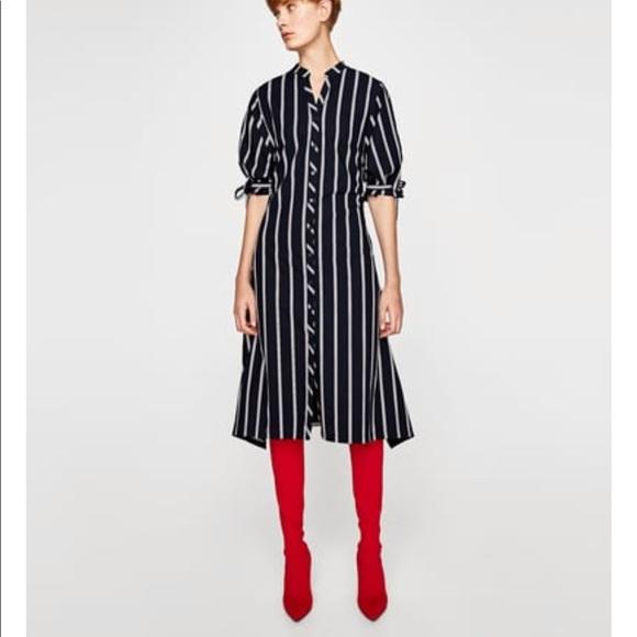 181028b11e3 Zara 100% Cotton Striped Shirt Dress